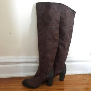 Vintage Brown Thigh High Over The Knee Boots 37.5